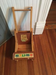 Old wooden baby doll stroller