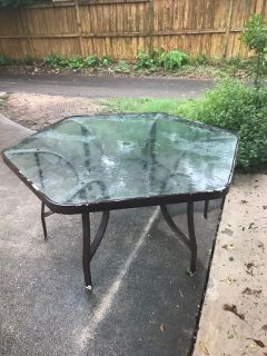 Large glass patio table without umbrella