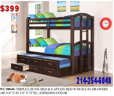 >TRIPLEX BUNK_BEDS AND CAPTAIN BED W/BUILT IN DRAWERS..NEW