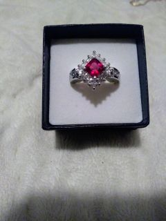 New Sterling Silver Ruby Ring sz 7