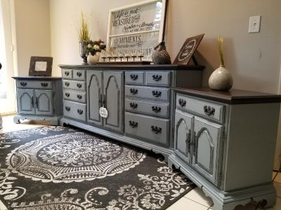 Solid wood refinished 11 drawer dresser with matching nightstands