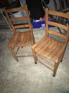 Pair of wooded chairs