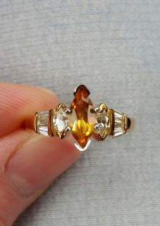 18K gold w/ side diamonds, baguettes, birthstone