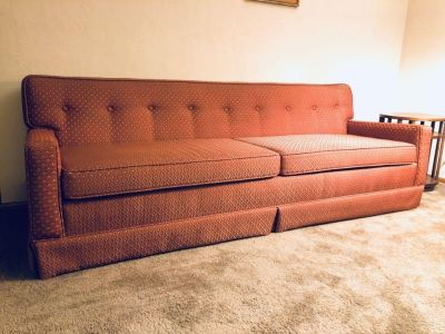 Mid Century Modern MCM 1960s Tufted Retro Upholstered Couch (Mint)