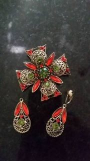 Emmons Maltese Cross Brooch and Earring Set -