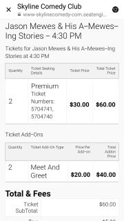 Premium comedy club tickets for Sat. Aug 18th 430 show