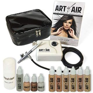 Art of Air Professional Airbrush Cosmetic Makeup System/Fair to Medium Shades 6pc Foundation Set with Blush, Bronzer, Shimmer and Primer Mak