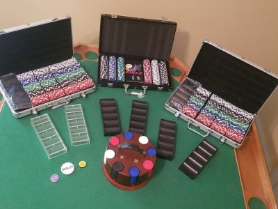 Poker chips & Wooden Card Table