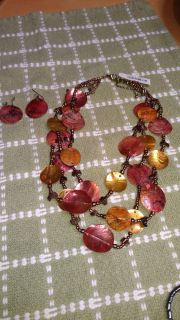 Genuine shell necklace and earrings