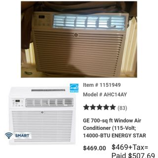 New/3 Month Old GE 14,000 BTU Window Air Conditioner with WiFi & Remote $350 obo