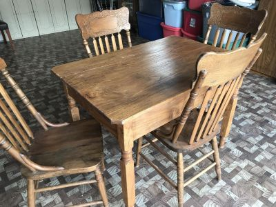 Wood Antique Table and Chairs
