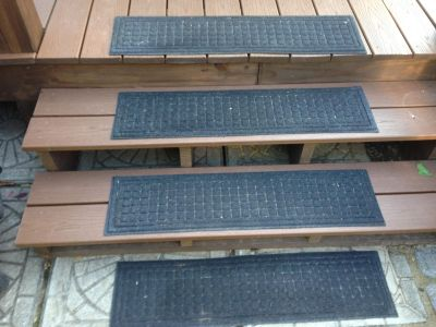 Four step runners rubber back carpeted front good used condition