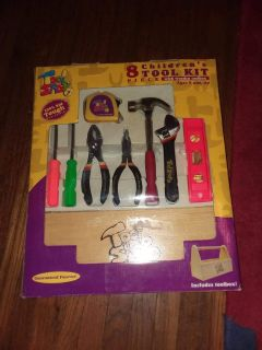 8pc children's tool set with wooden box