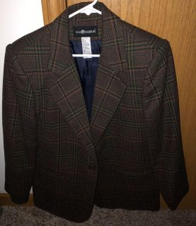 Brown with Green, Red, & Brown Stripes Dress Jacket-Size 8