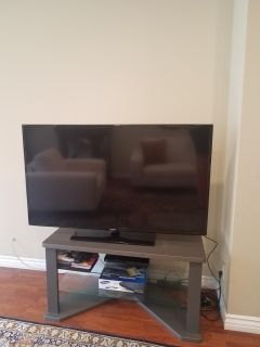 """48"""" gray two tier glass TV stand"""