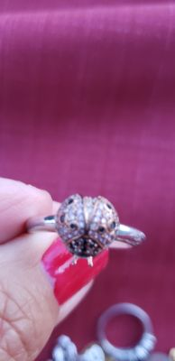 Beautiful sterling sz 9 lady bug silver and rose