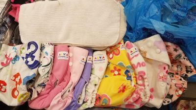11 girl print ALVA cloth diapers and inserts