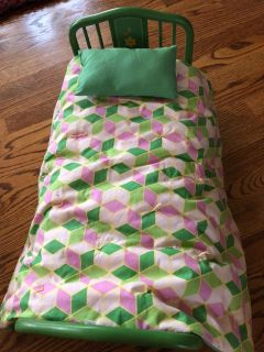 American Girl Doll Kit Kittredge Bed Retired Trundle With Bedding