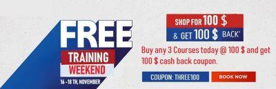 100 % Cash back Sale - Buy 3 Courses @ 100 $ and Get 100 $ cash back coupon )