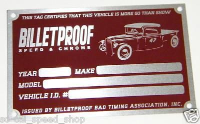 Sell BILLETPROOF TIMING TAG HOT RAT ROD GASSER FORD SCTA CAR SHOW PLAQUE VTG STYLE motorcycle in Sacramento, California, US, for US $14.98
