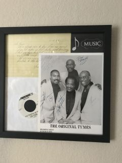 Autographed pictures and record with a note