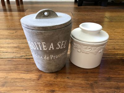 French kitchen salt keep and French butter bell crock,