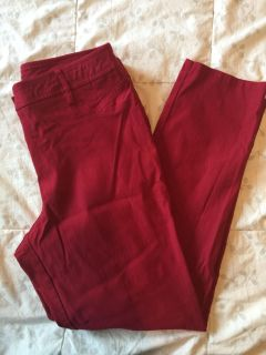 Soho Comfy Red Stretchy Skinny Pants- Size 12
