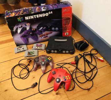 Nintendo 64 with box, 3 games and controllers with all hookups