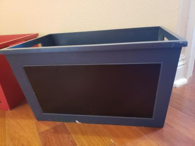 Blue wood storage box with chalkboard front