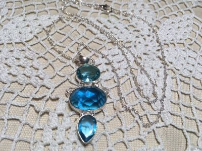 Blue Topaz Pendant on Sterling Silver Chain Three Large Stones Faceted Different Sizes and Shape...