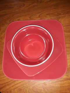 Mainstays ceramic red dishes qty 4 of each