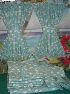 VW Bus Blue Cotton Plant Print Curtains Fits Bay
