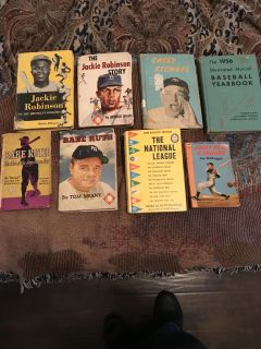 8 very old sports books, Ruth and Robinson!