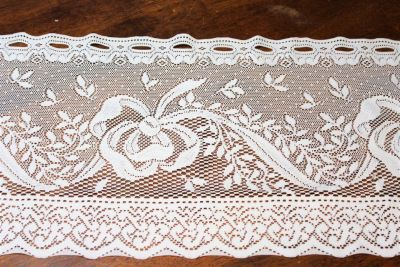"Vintage White Lace Bow Window Valance Kitchen Flower Floral Decor 58""x11.5"""