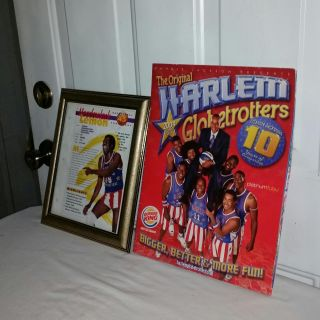 Harlem Globetrotters. 2004 WORLD TOUR PROGRAM and 1995 Meadowlark Lemon 8 by 10 heros, Feats and Facts BiFold card framed. Both for $8