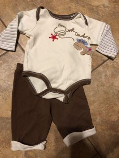 One Cool Cowboy 2 pc Long Sleeve Playsuit Onesie With Matching Pants. Nice Condition. Size 6 Months