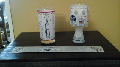 Vintage NASA Mercury 6 & Apollo 11 Glasses and American Men of Space Ruler