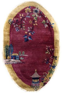 Handmade antique Art Deco Chinese rug, 1B623