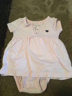 Carters 9m pink/wht strpd dress w/onesie - ppu (near old chemstrand & 29) or PU @ the Marcus Pointe Thrift Store (on W st)