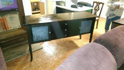 $1, Large TV Cabinet, Credenza for hall, desk wmarble top, couchLove Seat,washer,dryer,