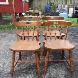 4 VINTAGE SOLID WOOD KITCHEN CHAIRS