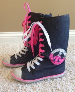 Justice Girls Denim Boots-Size 3