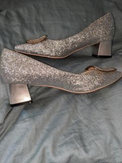Glittery shoes, silvery