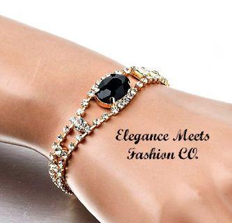 An Elegant Black Stone Austrian Crystal Bracelet