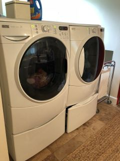 SALE PENDING KENMORE ELITE 4.5 cu ft WASHER DRYER MATCHING SET WITH PEDESTALS AND CUSTOM FOLDING SURFACE