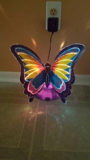 Fiber optic butterfly LED color changing night light table lamp