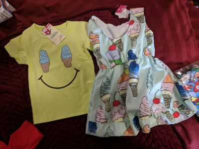 24-2t twins matching outfits Brand New with tags Ice cream