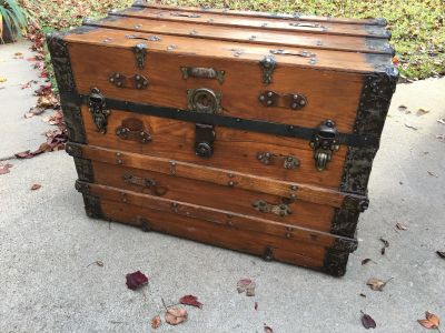Gorgeous Antique Wood With Metal Detailing Steamer Trunk