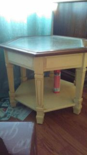 Set of two glass top solid wood end tables