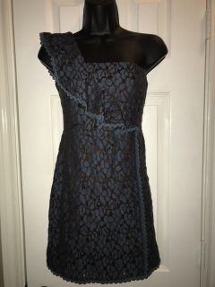 NWOT Teal and brown one shoulder ruffle dress